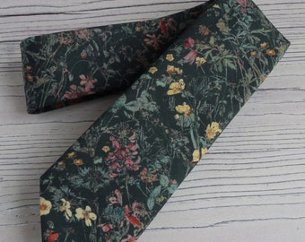 Floral Liberty print tie hand-stitched from Wild Flowers tana lawn - floral tie - wedding tie - black tie