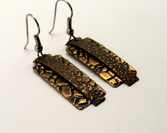 Mix metal jewelry copper brass earrings. Steampunk jewelry earrings.