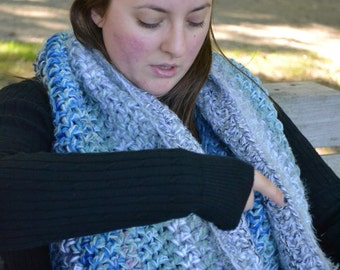 Polar -- Big Large Smushy Blue Extreme Ombre Crochet Scarf Luxury Cowl