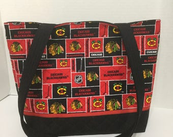 Blackhawks Quilted Purse - Quilted Tote - Chicago Blackhawks - Market Bag - Shopping Bag - Shoulder Bag - NHL Tote - Blackhawks Tote
