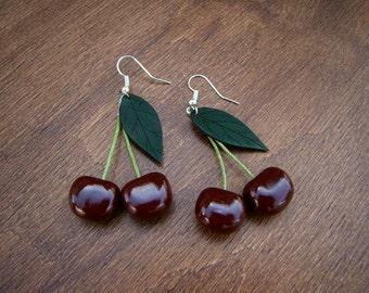 Gift earrings Black Cherry medium size Red earrings Cherry earrings Handmade Cherry red earrings Fruit earrings