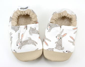 bunny shoes easter shoes bunny moccs spring soft sole shoes rabbit moccasins forest critter rubber sole rubber toe toddler moccs vegan