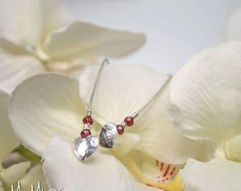 Threader Earrings, Heart Earrings, Garnet Earrings, Gift For Her, Dangle Earrings, Pull Through Earrings, Beaded Earrings, Red Earrings