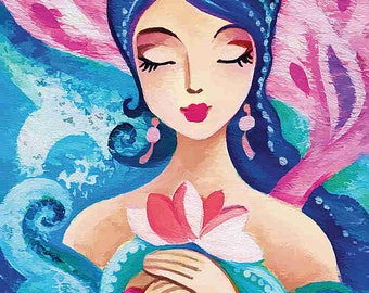 Quan Yin mermaid painting, girl and sea, mermaid art, mermaid print, girls room decor print 8x11.5+