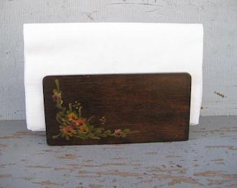 Vintage Wood Hand Painted Napkin or Letter Holder