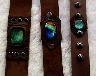 Custom Genuine leather and labradorite cuff bracelet.