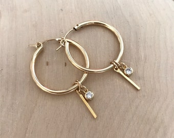 14k Goldfilled Hoop Earrings with Bar and CZ charms