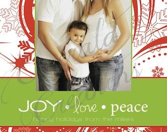 Snowflake Photo Christmas Card / Custom / Printable / DIY Christmas Card