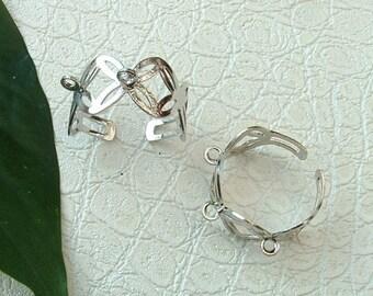 """Set of 2 """"Model crown"""" ring brackets adjustable GUN metal"""