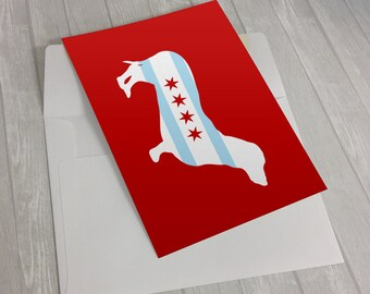 Greeting Card - Chicago Flag Dachshund Greeting Card - Chicago Flag Greeting Card - dog notecard - wiener dog notecard - Doxie greeting card