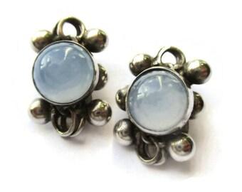 Danish sterling silver clip on earrings, pale blue moonstone glass, Scandinavian clipons, vintage Denmark lavender blue Nordic jewelry #1223