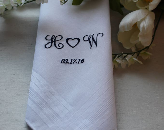 Monogrammed Men's Handkerchief, Embroidered, Bride to Groom Handkerchief, Groom Gift From Bride, Father of the Bride, Father of the Groom