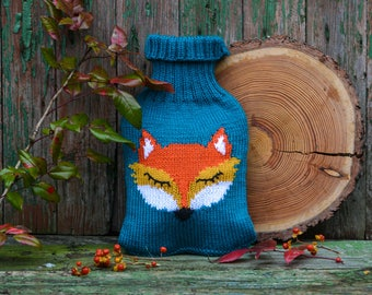 Hot water bottle cover animal - Knitted hot water bottle cover - hot water bottle cover fox - hot water bottle cozy - Get well soon