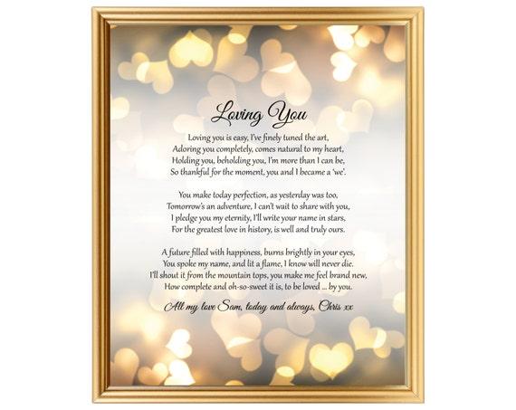 9th Wedding Anniversary Gift Ideas Her: Special Personalized Valentines Day Gift Poem For Him Her