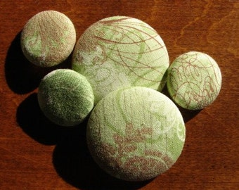 Cotton Fabric Covered Buttons in Green Moda Design