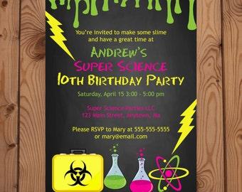 Science Invitation - Science Party Invitation - Science Birthday Invite - Science Invitations - Super Science Party - Slime Invite - Digital