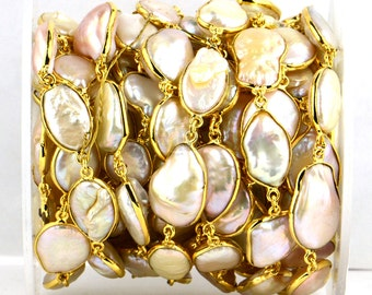 One Foot Beautiful Pearl, 24k Gold Plated Bezel Continuous connectors Chain, Stone size 10-15mm (appx) (GPPR-20006)