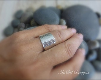 Cigar Band Ring Sterling Silver Ring 20 gauge 925 Adjustable Unisex His and Hers Hammered Texture
