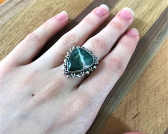 Vintage Sterling Silver And Green Moss Agate Ring Size 7