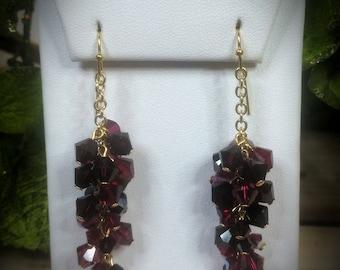 Swarovski Crystal & Pearl Magma Vine Earrings