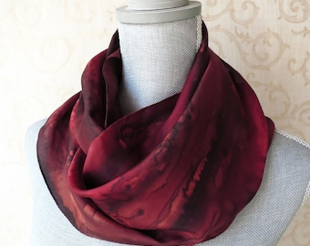 Silk Scarf Hand Dyed in Rich Brown and Red