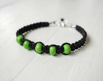 Leather bracelet green howlite beads braided black bracelet for men for women