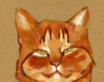 """Ginger Cat is a Little Too Satisfied 5"""" x 7"""" Print"""