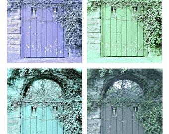 Door Photography, Old Door Art, Wall Art Gallery, Shabby Door Prints, Rustic Cottage Farmhouse Decor, Green Aqua Blue Purple Gray Home Decor