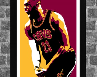 Cleveland Cavaliers Lebron James Portrait Sports Print Art 11x17