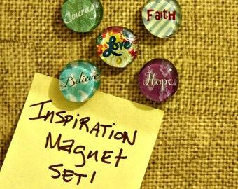 Inspiration Magnet Set, Glass Bubble Magnets, Refrigerator Magnet Set, Fridge Magnets, Coworker Friend Gift, Stocking Stuffer, Organizer