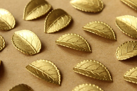 4 pc. Materia prima latón hojas nervadas: 26mm por 16mm - hecho en ...