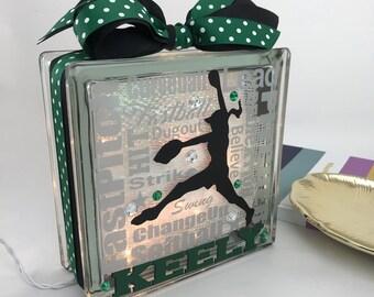 Softball Pitcher Typography GemLight, Softball Gifts, SoftBall Decor, Sports Decor, Personalized