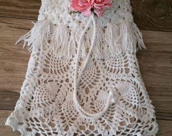Rustic burlap and lace dollar dance bag, money bag,  bridal,  wedding, boho, hippie, shabby, Victorian