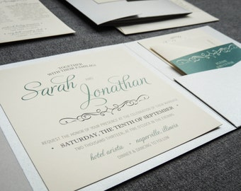 "Emerald Wedding Invitations, Silver Pocketfold Invitation, Folded Wedding Invitation - ""Enchanting Vintage"" PF-NL-v2 SAMPLE"