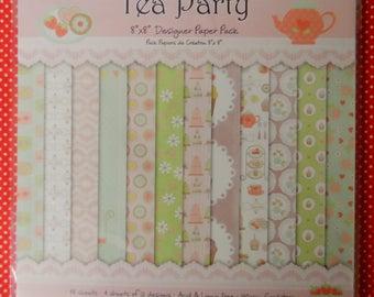 """Tea Party 8"""" x 8"""" Designer Paper Pack 48 Sheets (4 sheets of 12 designs) Acid & Lignin free   150gsm"""