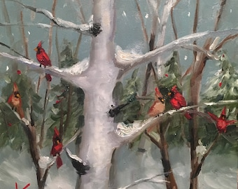 "Playful Moment,6""x6"", original, oil, birds, cardinals, winter, snow, landscape"