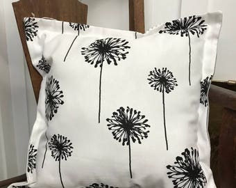 Black and White Dandelion Pillow