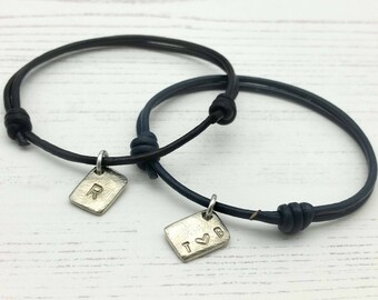 Matching Couples Bracelets - Personalised Leather Pair of initial Bracelet - His and Her Bracelet - gift for couples - Anniversary Gift