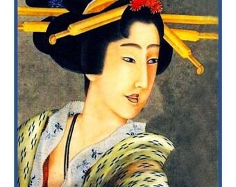 SPRING SALE DIGITAL Download Katsushika Hokusai's Portrait of a Woman Counted Cross Stitch Chart