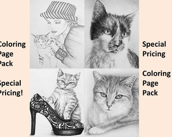 Adult Coloring Page, coloring pages, Instant download coloring, Kitty, Cat coloring pages, adult coloring, coloring for adults, Printable