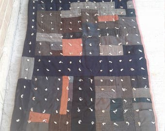 Vtg 90s Patchwork Quilt with Tufts