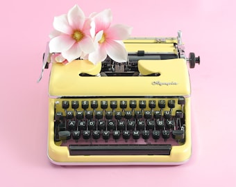Yellow typewriter OLYMPIA SM3 DELUXE manual typewriter working typewriter with case yellow wedding decoration vintage birthday gift
