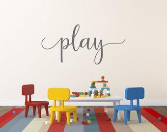 Play Wall Decal, Play Wall Decor, Play Room Decal, Playroom Sign, Play Decal, Play Sticker, Playroom Wall Decor, Kids Room Decal