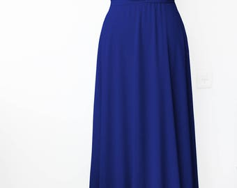 Bridesmaids dress Tailored to Size & Length Infinity Dress - floor length with chiffon skirt in dark blue color