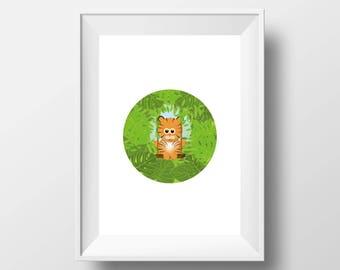 Little Tiger, digital poster, 2 sizes, cute, kids