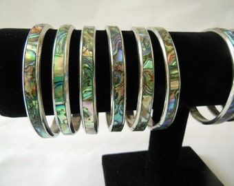Abalone Bracelet Shell and Metal Bangle Bracelet
