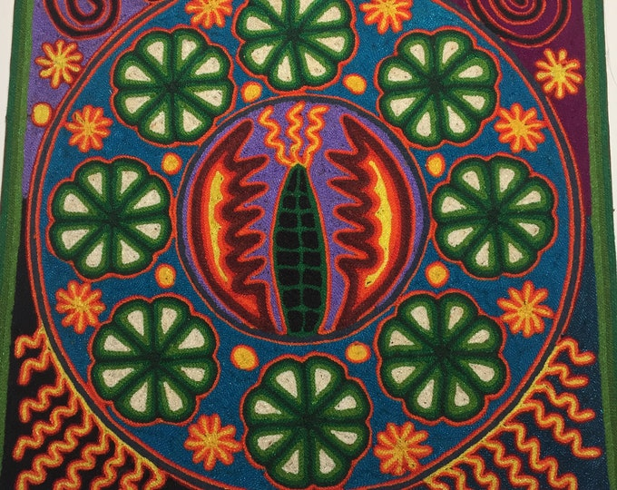 "Huichol Yarn Art - 12""x 12"" Tablet - Rogelio Hernandez Robles"