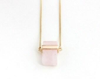 Natural Rose Quartz Pendant Necklace Gold Plated