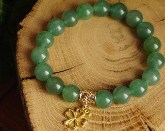 Lucky Charm Clover Leaf w/ 10mm Natural Green Aventurine Beads Stone Bracelet