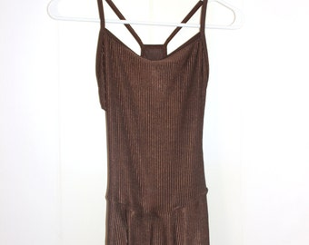 Adult Size Large Brown Ribbed Dance Dress With Spaghetti Straps